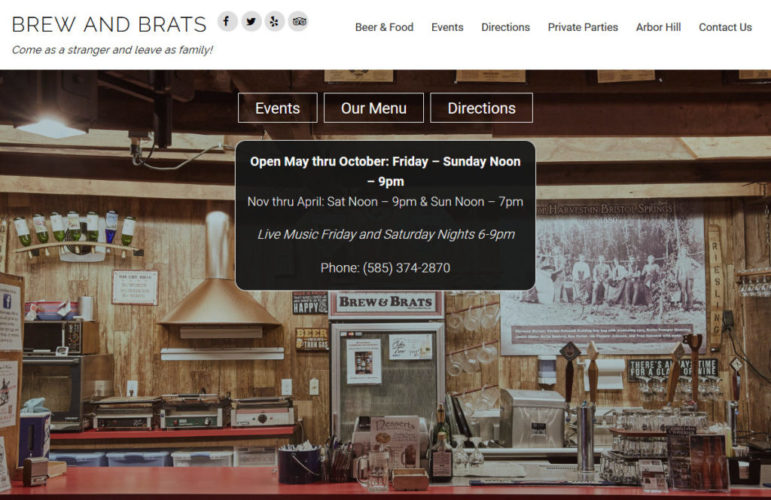 Description: Bar and Restaurant  Audience: Retail customers and Private Parties  Objectives: Responsive site targeting mobile users who are locals or tourists Features: Mobile-first design, Shared Calendar with Arbor Hill, Contact form Call to action: Visit Brew and Brats